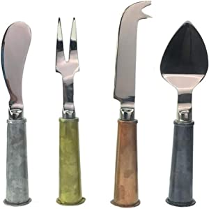 Galrose Cheese Knife Set Premium Quality - Galvanized Iron Handle Stainless Steel Blade Rustic 4 Piece Cheese Knives or Charcuterie Utensils Set for Home Entertainer. 6th Iron Wedding Anniversary Gift