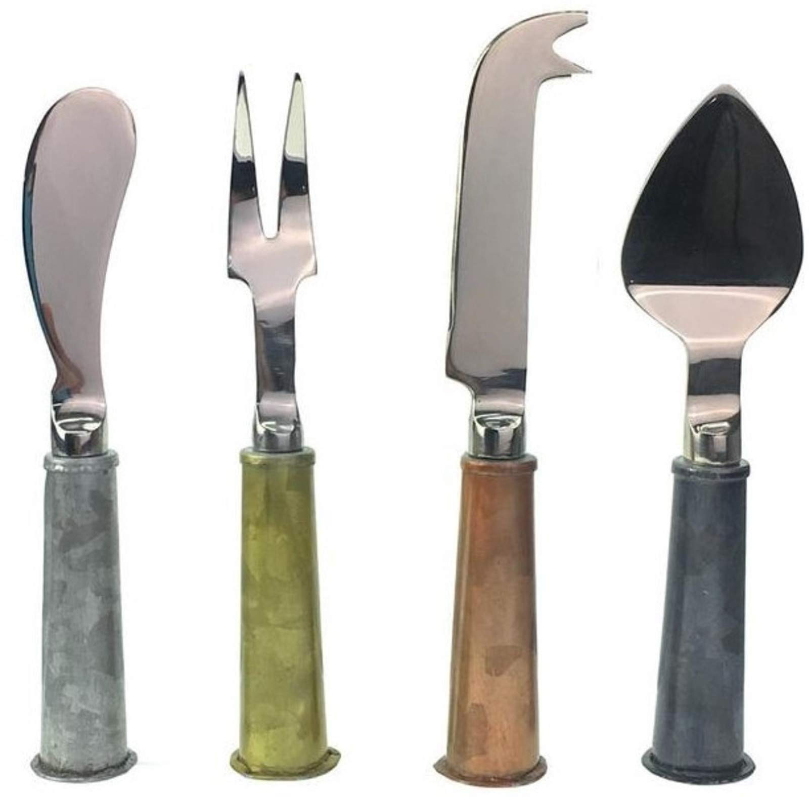 Galrose CHEESE KNIFE SET Galvanized Iron Handles-Stainless Steel Blades Quality Stunning Elegant 4 Piece Knives Set-Perfect for the Home Entertainer/Cheese Lover 6th Wedding Anniversary Gift Idea