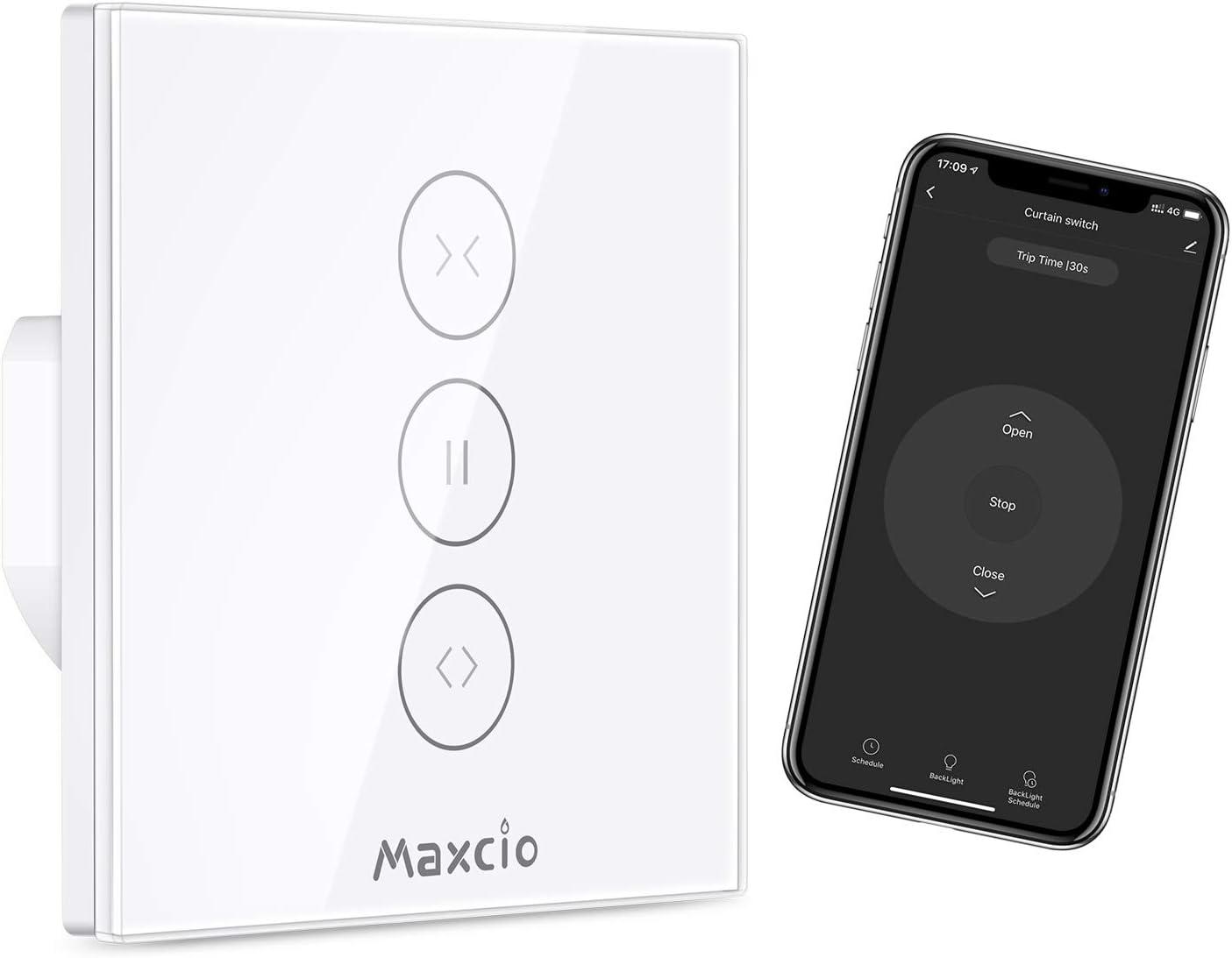 【LED Controlable】Interruptor Persiana WiFi, Maxcio Interruptor Pared WiFi Compatible con Alexa y Google Home, Control de APP y Función de Temporizador, para Motor Persiana, Motor Tubular
