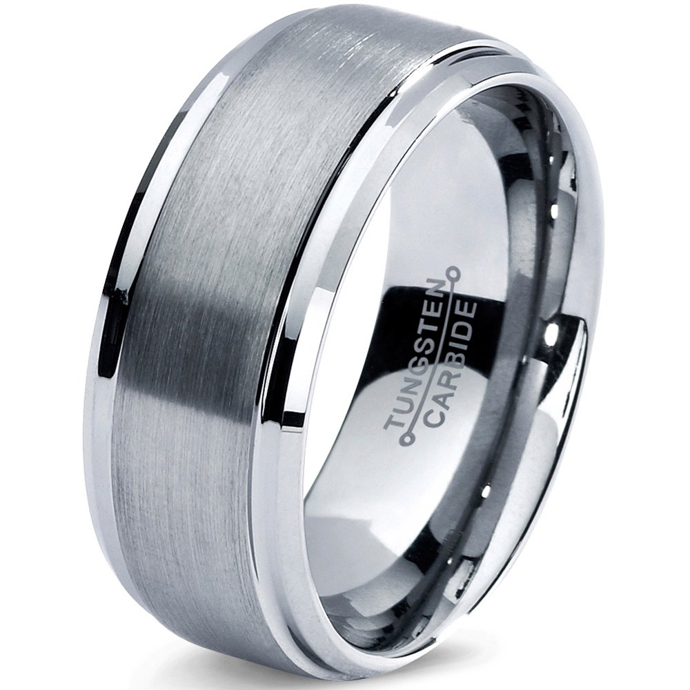 Tungsten Wedding Band Ring 8mm 6mm for Men Women Comfort Fit Beveled Edge Cut Polished FREE Custom Laser Engraving Lifetime Guarantee