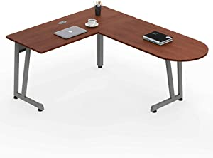 "Linea Italia L-Shaped Corner Easy to Assemble Executive Desk | Computer Table for Home or Office, 55"" x 71"", Cherry"