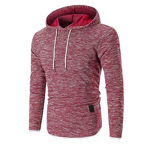 (ZEFOTIM Men's Autumn Long Sleeve Hoodie Hooded Sweatshirt Top Tee Outwear Blouse(Large,Red))