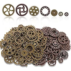 Teenitor 200 Gram (Approx 140pcs) Bronze and Copper Assorted Antique Steampunk Gears Charms Pendant Clock Watch Wheel Gear for Crafting, Jewelry Making