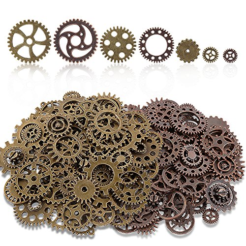Teenitor 200 Gram (Approx 140pcs) Bronze and Copper Assorted Antique Steampunk Gears Charms Pendant Clock Watch Wheel Gear for Crafting, Jewelry Making ()