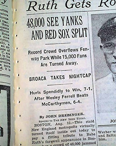 Babe Ruth New York Yankees Final Game Played At Fenway Park 1934 Nyc Newspaper Sports Mem, Cards & Fan Shop