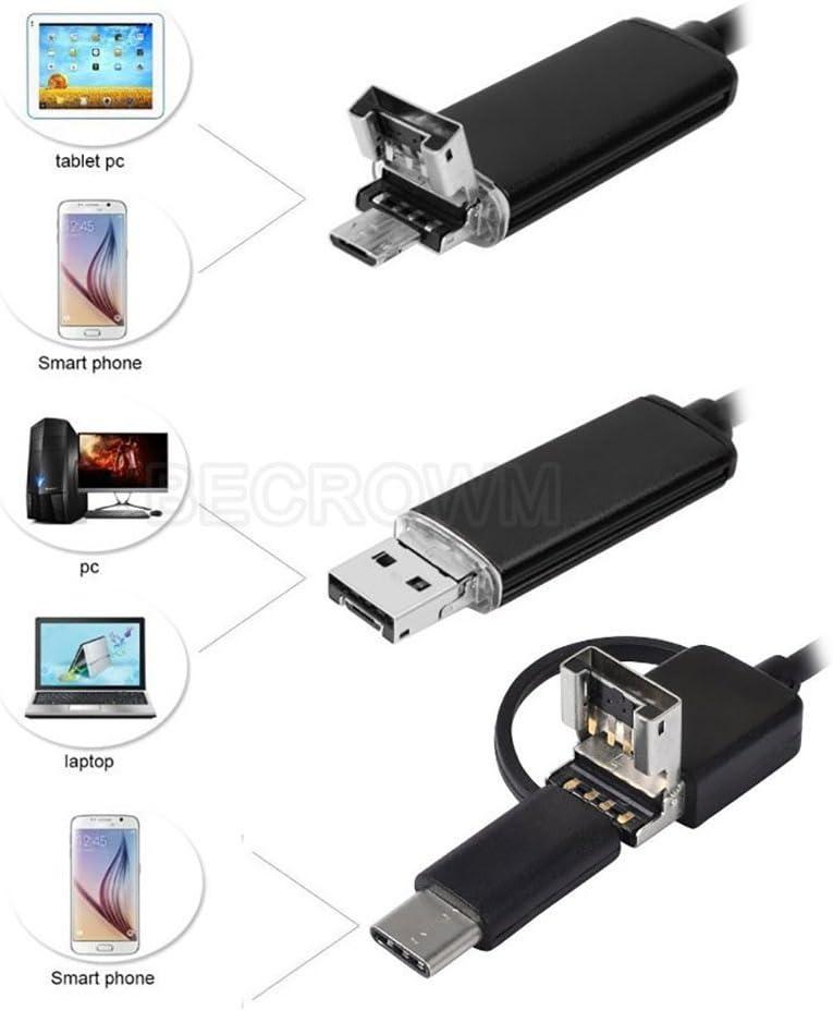 BECROWMEU Endoscopio Tipo C//USB//Micro USB para C/ámara de Inspecci/ón Android 1200P HD IP67 Resistente al Agua con Adaptador Micro USB