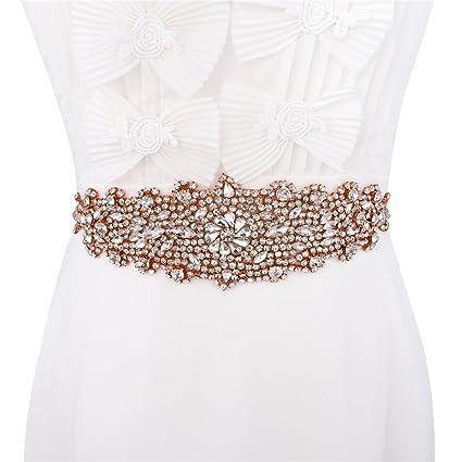 XINFANGXIU Oro rosa apliques boda Rhinestone banda cinturón Applique, cristal novia coser hierro en Applique