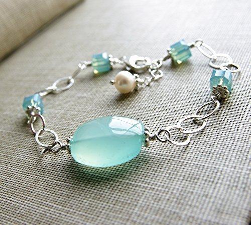 Blue Chalcedony Bracelet Aqua Gemstone Swarovski Crystal Sterling Silver Freshwater Cultured Pearl ()
