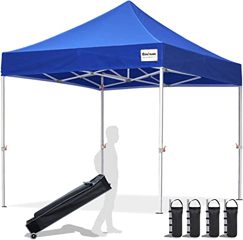 EliteShade 10 x10 Commercial Ez Pop Up Canopy Tent Instant Canopy Party Tent Sun Shelter with Heavy Duty Roller Bag,Bonus 4 Weight Bags,Royal Blue