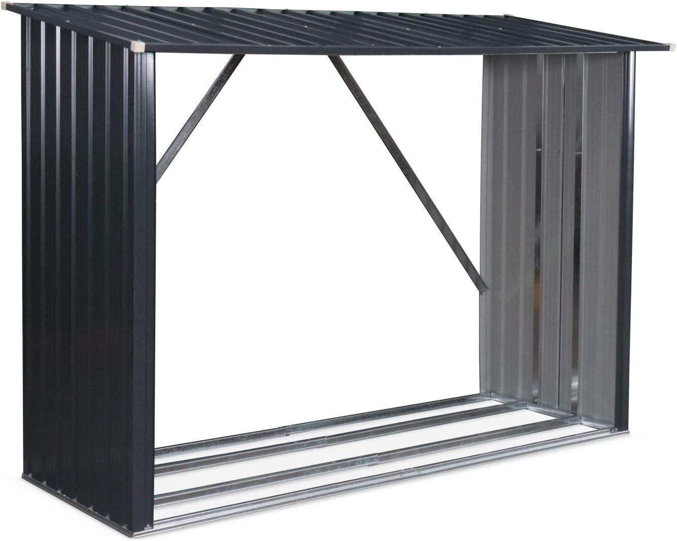 Alices Garden - Caseta para leña en metal gris antracita: Amazon.es: Jardín