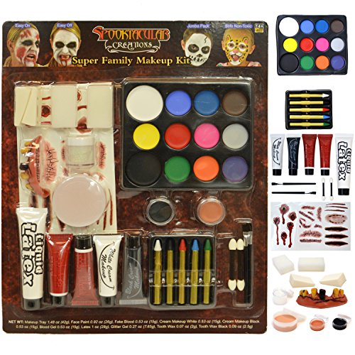Super Costume White Skin (Halloween Makeup Ultimate Family Party Pack (36 PCS) including Liquid Latex, Fake Blood Gel Costume)