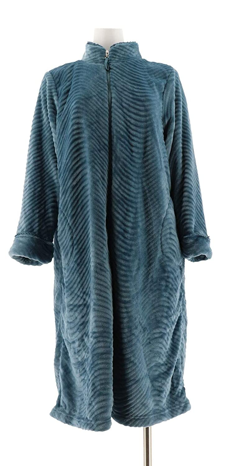 25fd477a35 Stan Herman Silky Plush Trimmed Wave Long Zip Robe A294383 at Amazon  Women s Clothing store