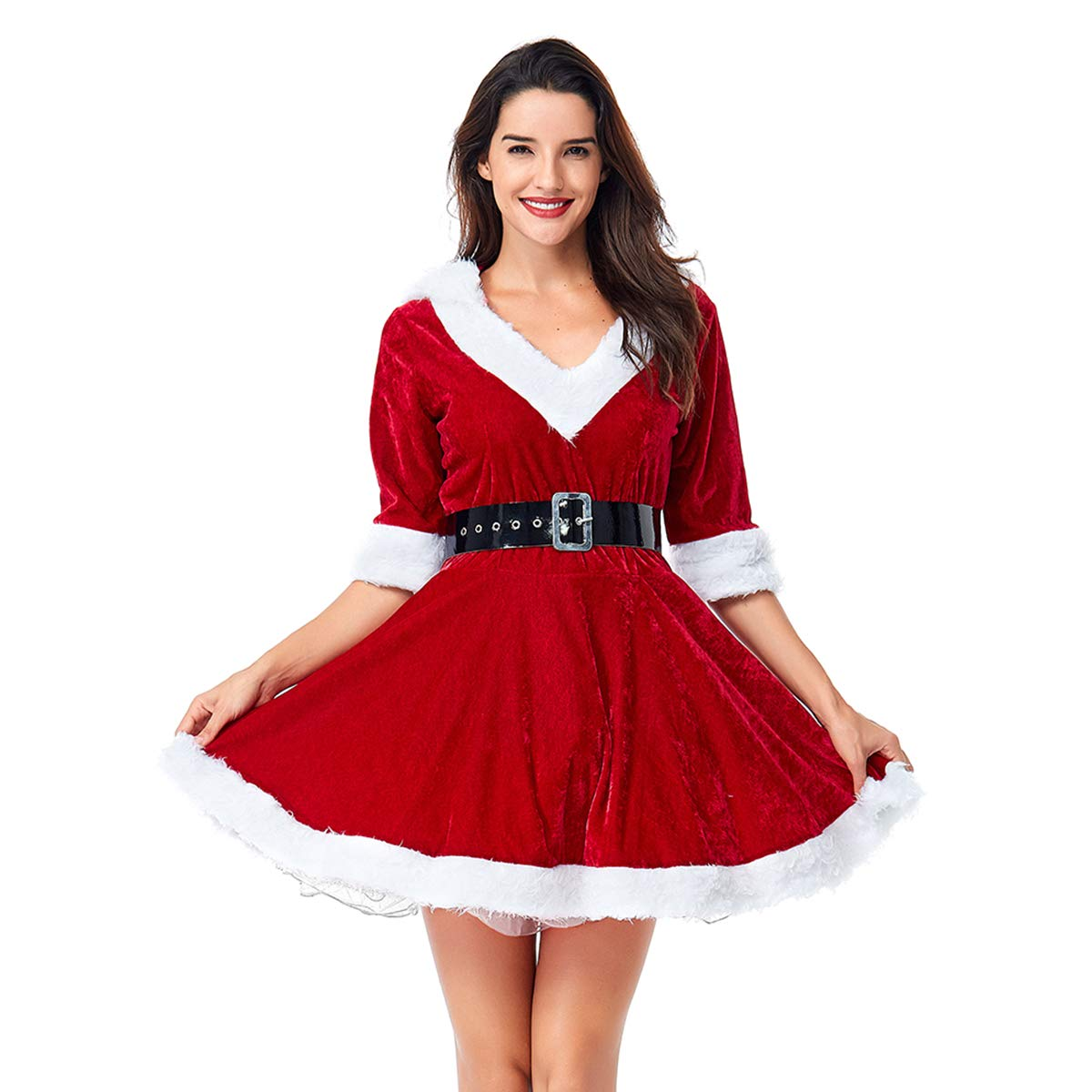 Quesera Women's Mrs. Claus Costume 2 Piece Hooded Santa Sweetie Christmas Outfit