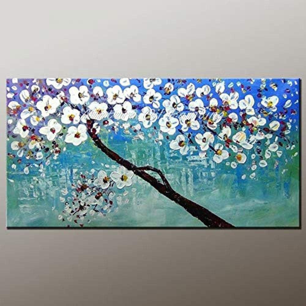 DYHDQ Pinturas Al Óleo sobre Lienzo Pintada A Mano Paisaje Abstracto con Textura Espátula Flores Blancas Y Azul Lago Pinturas Al Óleo sobre Lienzo A-120×240 Cm