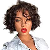 Short Human Hair Wigs for Black Women Curly Wavy Lace Front Wig Brazilian Full Lace Wigs with Baby Hair Natural Color (8 inch, 130% density lace front wig)