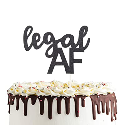 Legal AF Cake Topper,Finally Legal Cake Topper Double Sided Black Glitter 18th 19th 21st Birthday Party Decorations: Toys & Games