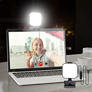 Aulynp Video Conference Lighting Kit, Laptop/Computer Monitor LED Video Light Dimmable 6500K Webcam Light for Remote Work, Online Education, Makeup Live Streaming Evening Work Office PC Accessories