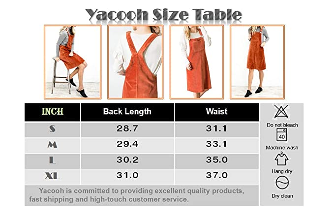 7ba0cdff9a Amazon.com  Yacooh Womens Corduroy Overall Dress Suspender Skirt Denim Bib  Pinafore Pocket  Clothing