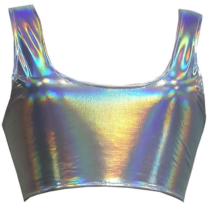 d03b622e5b843b Pinda Summer Women Rave Festival Silver Holographic Tank Top (S ...