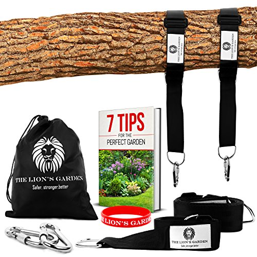 The Lion's Garden Premium Tree Swing Hanging Kit - Adjustable Tree Swing Straps For Any Length From 5-10ft Holds 3376 lbs With 2 Heavy Duty Carabiners - Perfect For Swings & Hammocks  (Hanging From Swing Tree)