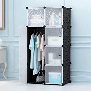 COLiJOL Furniture Portable Wardrobe Chest with Hanging Rail for Clothes, Combination Armoire, Modular Divider Cabinet for Space Saving, Room Storage Cube for Books, Toys, Towels (8 Cube Units)