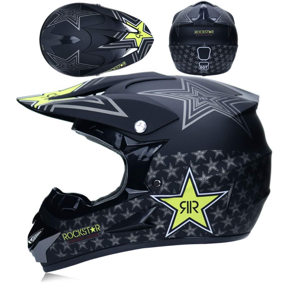 HXZM off-Road Casco Moto Doppio Sport Fuoristrada Fuoristrada ATV DOT Certificazione Motocross Casco Rockstar S, M, L, XL, XXL ,Blue,S54~55CM