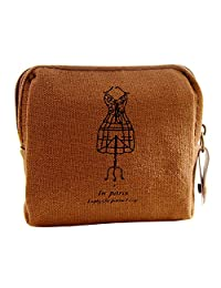 Classic Retro Canvas Purse Wallet Card Key Coin Purse Bag Case for Ladies and Girls
