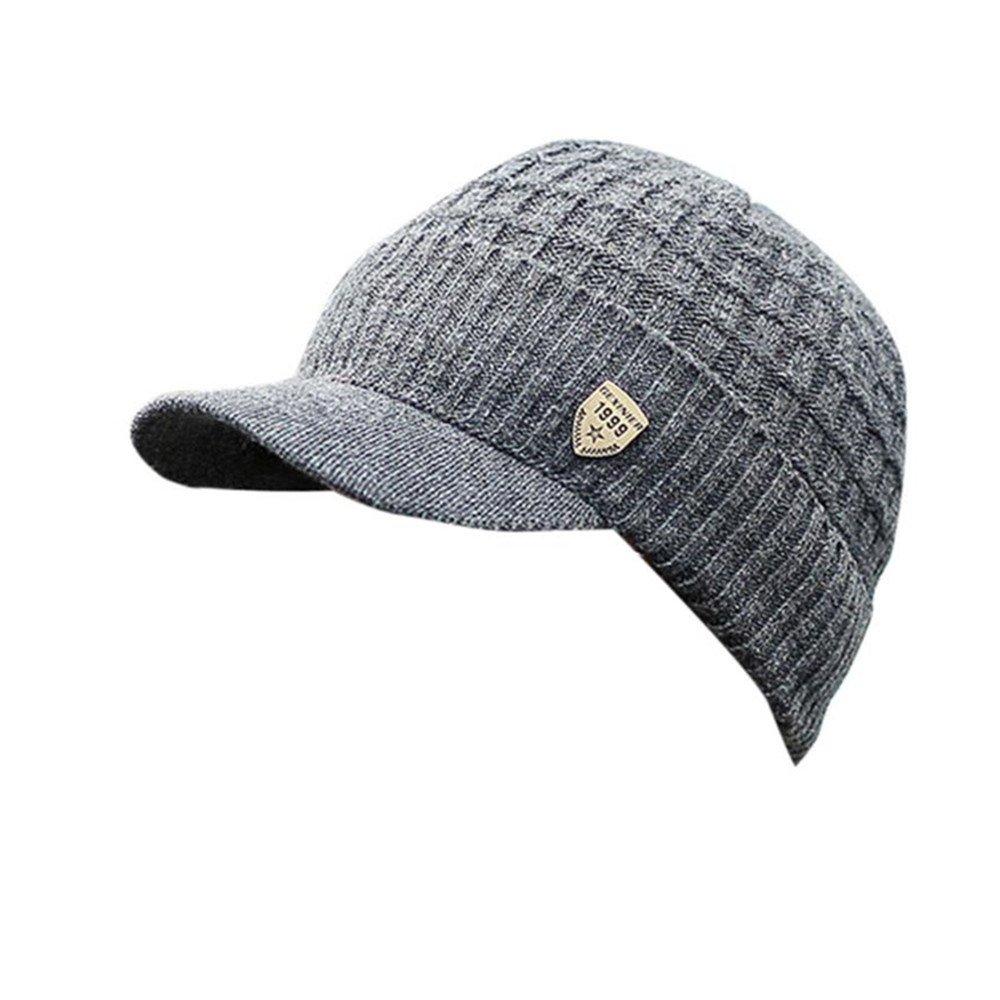 1a2afa789 Invierno Hombre Gorro de Punto Tejer de lana Beanie Sombrero de gorras con  Viseras