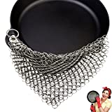 Cast Iron Cleaner Stainless Steel Anti-Rust Pan Cleaner Chainmail Scrubber Cookware Cleaner for Home and Camping 1 piece
