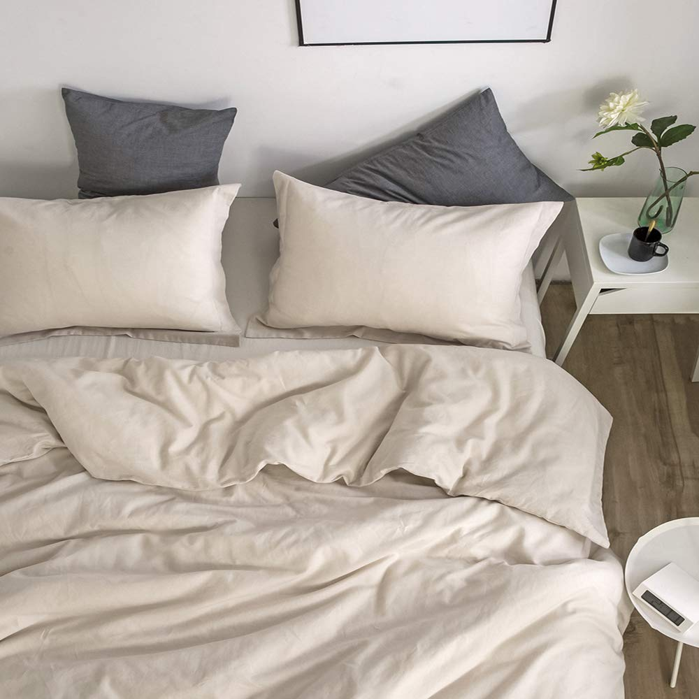 Simple&Opulence French Linen Duvet Cover Set 3PCS Solid Color Luxury Bedding Set (Twin, Linen) by Simple&Opulence (Image #6)