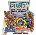 30th Birthday Gift Basket Box Retro Nostalgic Candy From Childhood - 30 Years Old - Born 1987 from Woodstock Candy