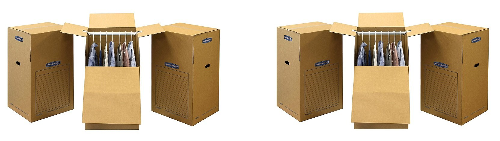 "Bankers Box SmoothMove Wardrobe and Moving Boxes, 24"" x 24"" x 40"", 3 Pack (7711001) (6-PACK)"