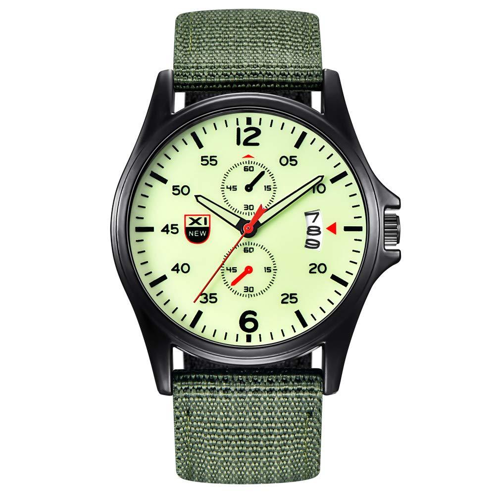 Present Hot!!!Military Nylon Waterproof Date Quartz Analog Army Men's Quartz Wrist Watches Outsta for Men Boys Holiday Gift (E)