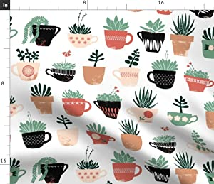 Spoonflower Fabric - Succulent Scandinavian Teacup Pots Coral Green Summer Boho Plant Printed on Petal Signature Cotton Fabric by The Yard - Sewing Quilting Apparel Crafts Decor