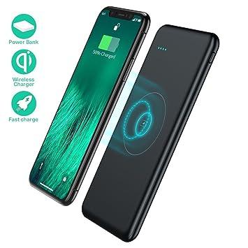 TOVAOON Qi Cargador inalámbrico portátil, 10000 mAh Carga rápida Cargador de batería Externa Pad batería Pack para iPhone 8/8 Plus, Samaung S7 S8 S9, ...