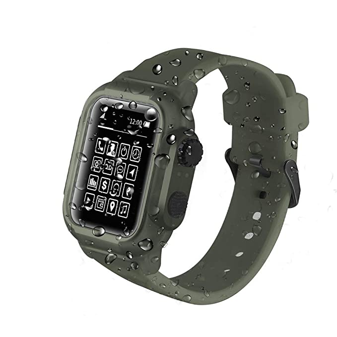 uk availability c0a23 9f22c Compatible Apple Watch 44mm Case - IP68 Waterproof Shockproof Impact  Resistant+Premium Soft Silicone Apple Watch Band- Compatible with iWatch  Series 4 ...