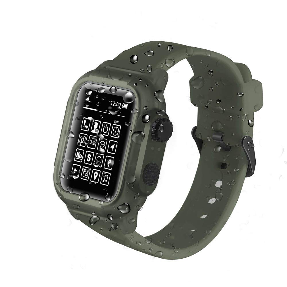 Compatible Apple Watch 3 Case - IP68 Waterproof Shockproof Impact Resistant+Premium Soft Silicone iwatch Band- Compatible with iWatch Series 2/3 - Black [2019 Upgrade Version]