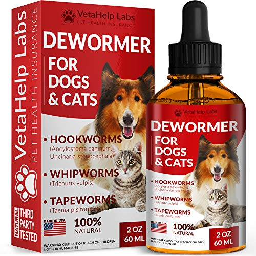 VetaHelp Labs Dewormer for Dogs & Cats (2 OZ) - Treat & Prevent - Broad Spectrum Whipworm, Roundworm & Tapeworm Dewormer - Made in USA - Natural Powerful Blend - Senior Pets, Kitten & Puppy Dewormer