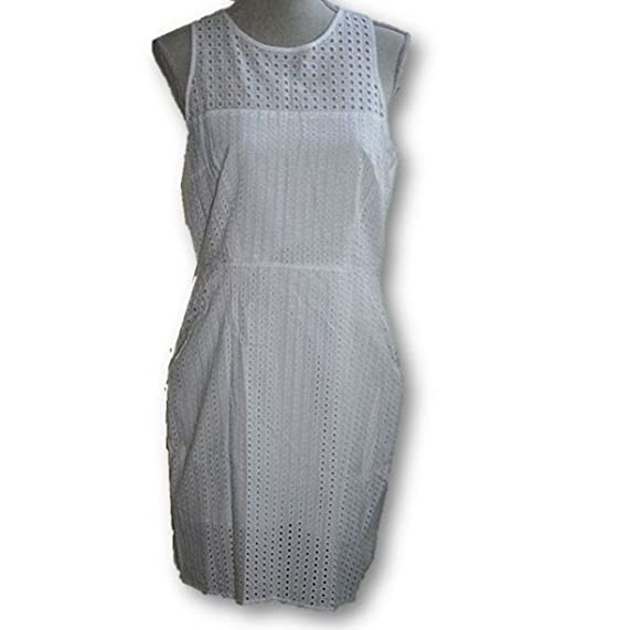 Banana Republic Womens Eyelet Racerback Dress Size 8 White 182550