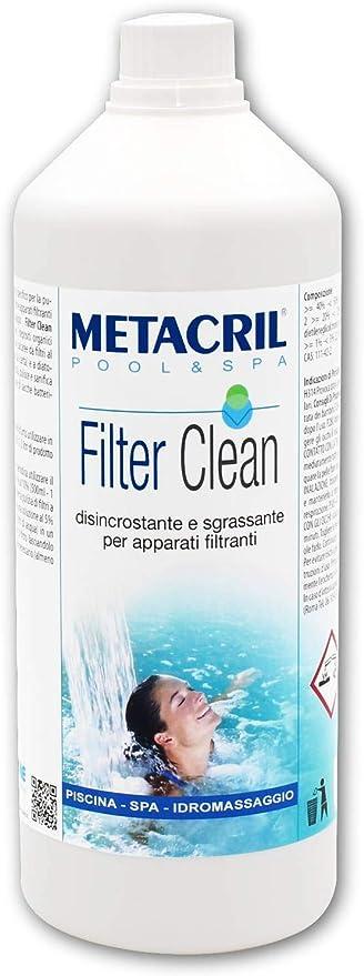 Metacril Filter Clean - Desincrustante, desinfectante, desengrasante para filtros de piscina e hidromasaje (Teuco, Jacuzzi, Dimhora, Intex, Bestway, etc.).