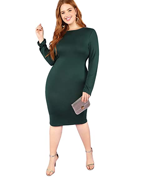 c02d9ac6dc Amazon.com: SheIn Women's Plus Size Solid Color Long Sleeve Stretchy Bodycon  Dress Green 0X-Large: Clothing