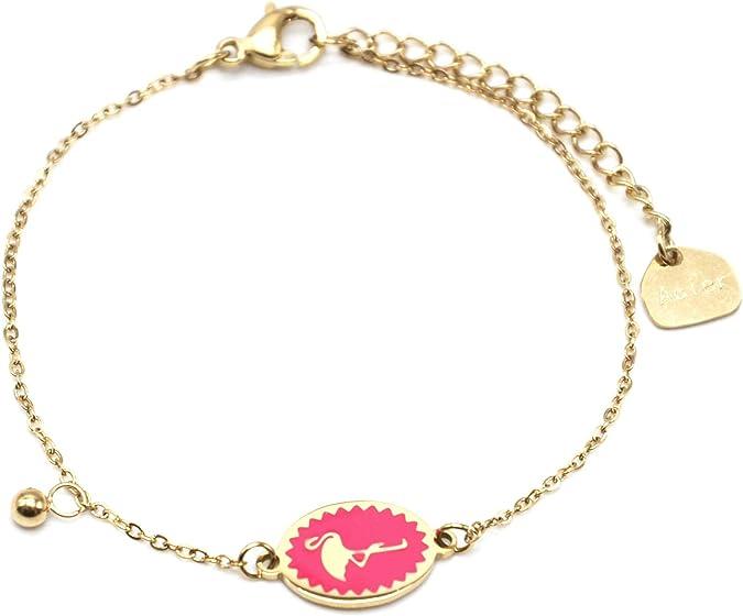 BC3040F Bracelet Fine Chaîne Acier Doré avec Mini Perles Email Multicolore