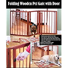 3 SECTION FOLDING WOODEN PET GATE WITH DOOR AND LATCH