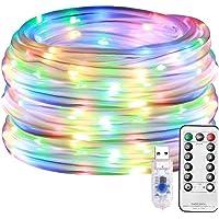 Sanfiyya Led Lichtslangen Fairy String Lamp Outdoor decoratieve Multicolor 100LED Usb Remote Control 8 Modes buislichten…