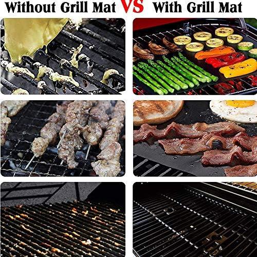 Tapis de Cuisson Haute Qualité pour Barbecue et Four, 100% Anti-Adhésif Réutilisable en Téflon-pour Barbecue A Gaz, Charbon, Peut résister à 300 ° C, Electrique, Au Four 3Pack (épaisseur 0.4mm)