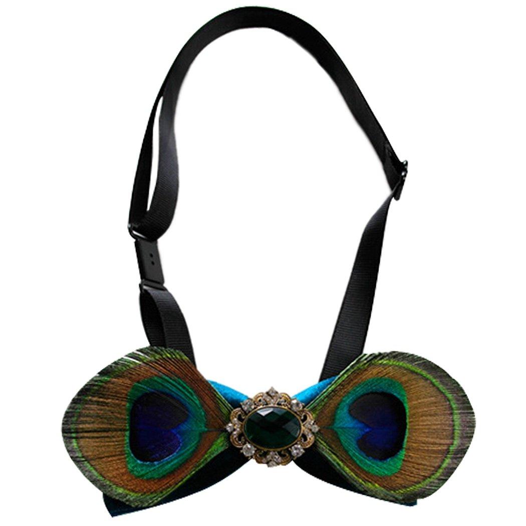 Cool Bow Tie Peacock Bling Rhinestone Wedding Bow Ties Blue Coxeer