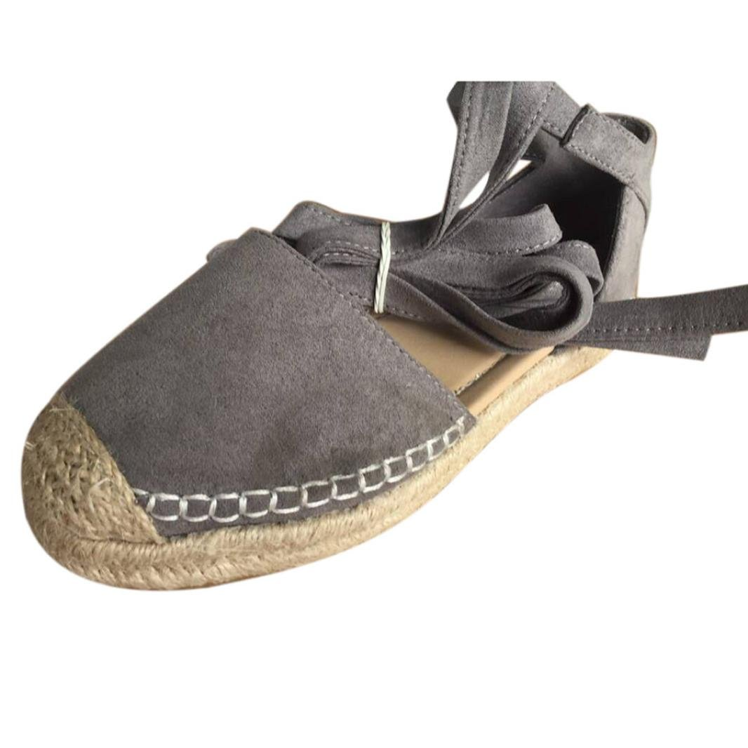 Ninasill Clearance ! Summer Shoe, Hot Fashion Flat Lace-up Espadrilles Chunky Holiday Sandals Shoes Strap Shoes (7, Gray)