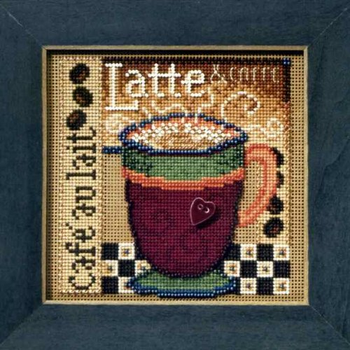 (Latte Beaded Counted Cross Stitch Kit Mill Hill 2008 Buttons Beads Autumn MH148205)