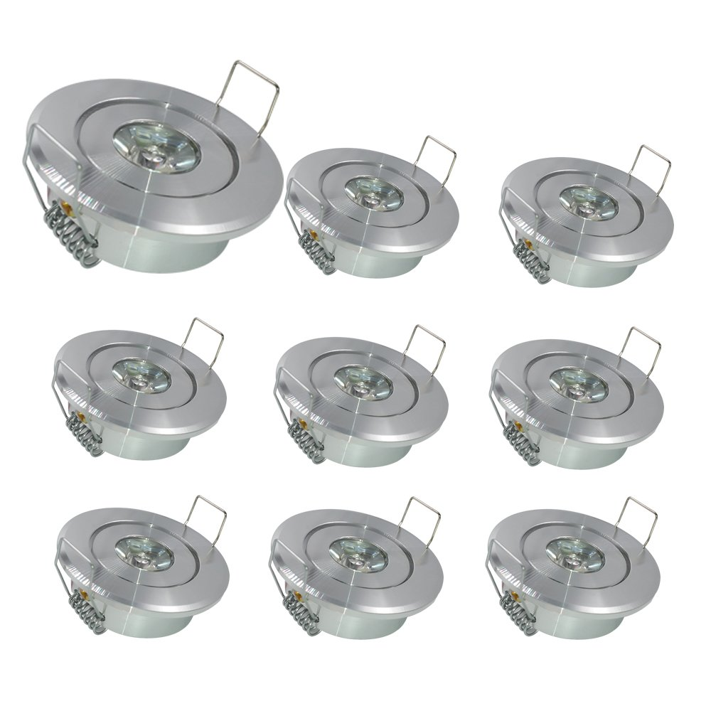 BA-BOLING Mini Recessed Ceiling Downlight,2'' Diameter,Warm Light,Specular, 1W Mini Spot Lamp with LED Driver for Display Cabinets,Wine Cabinets,9 Pack