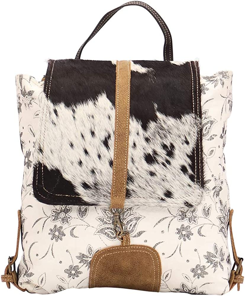 Myra Bag Bloom Bleach Upcycled Canvas Cowhide Backpack S-1504